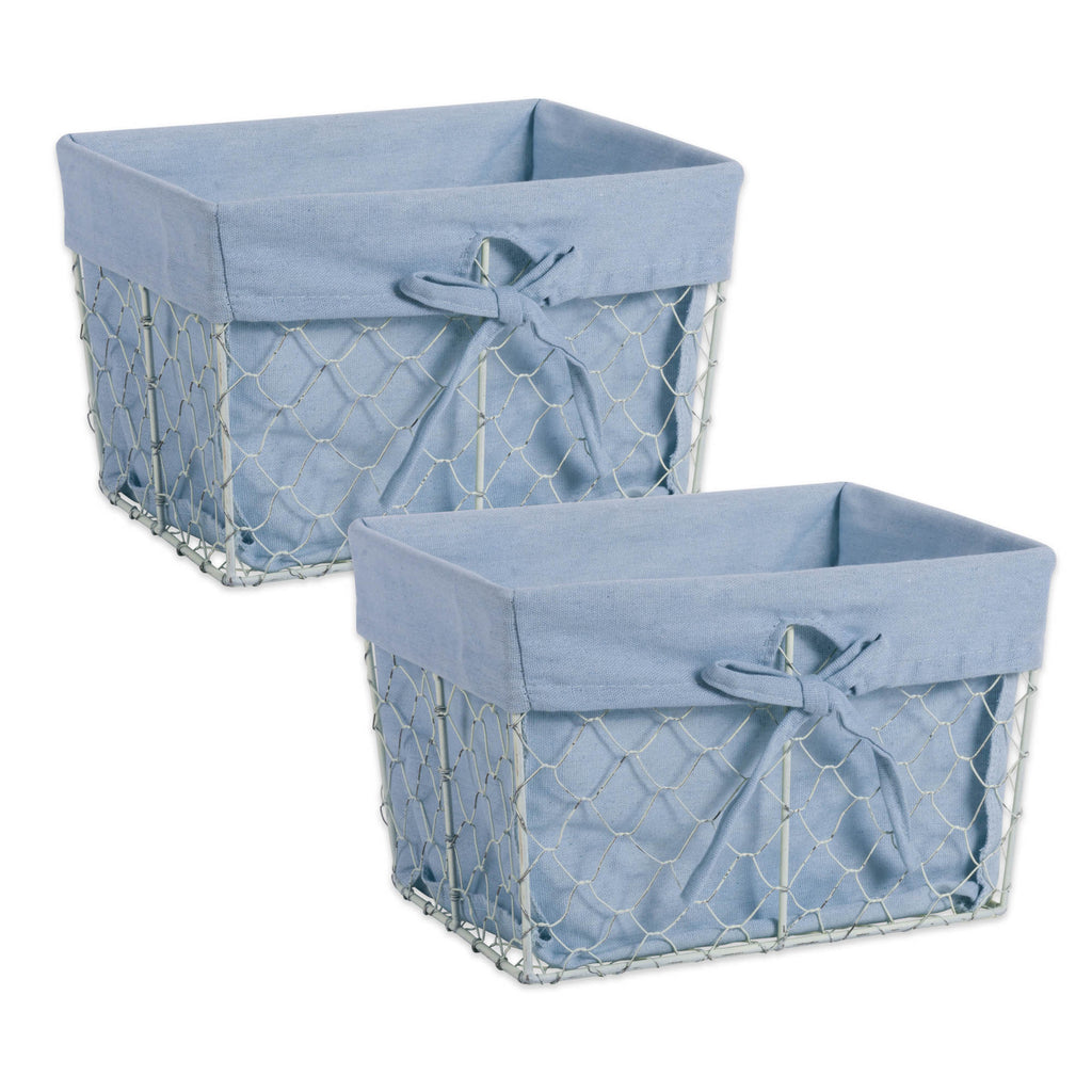 Medium Antique White Chicken Wire Washed Denim Liner Basket Set/2