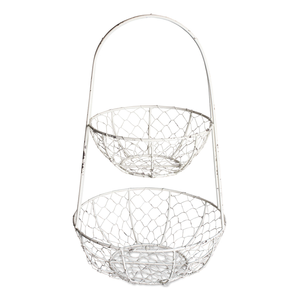 Antique White Chicken Wire Tiered Stand