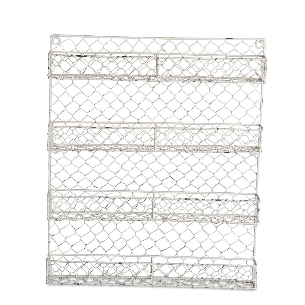 Antique White 4 Row Chicken Wire Spice Rack