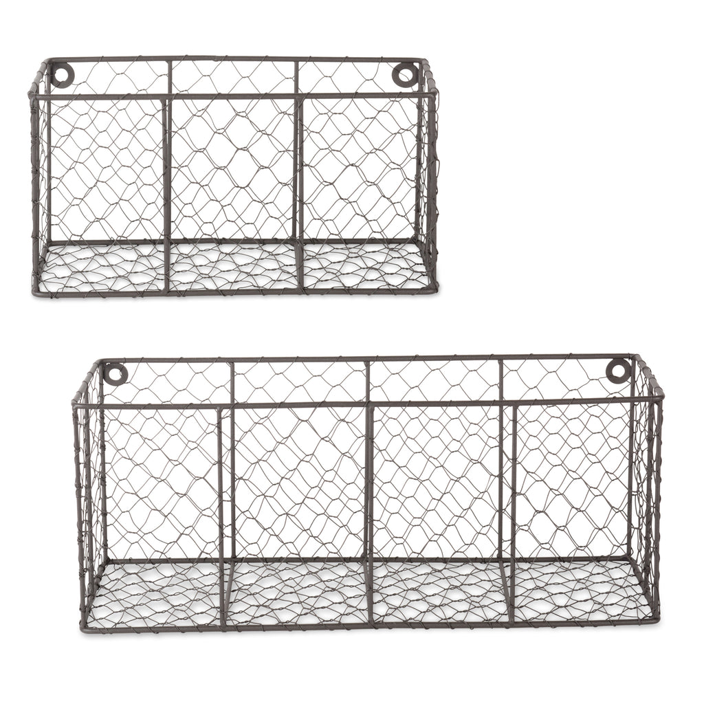 Asst Vintage Grey Wall Mount Chicken Wire Basket Set/2