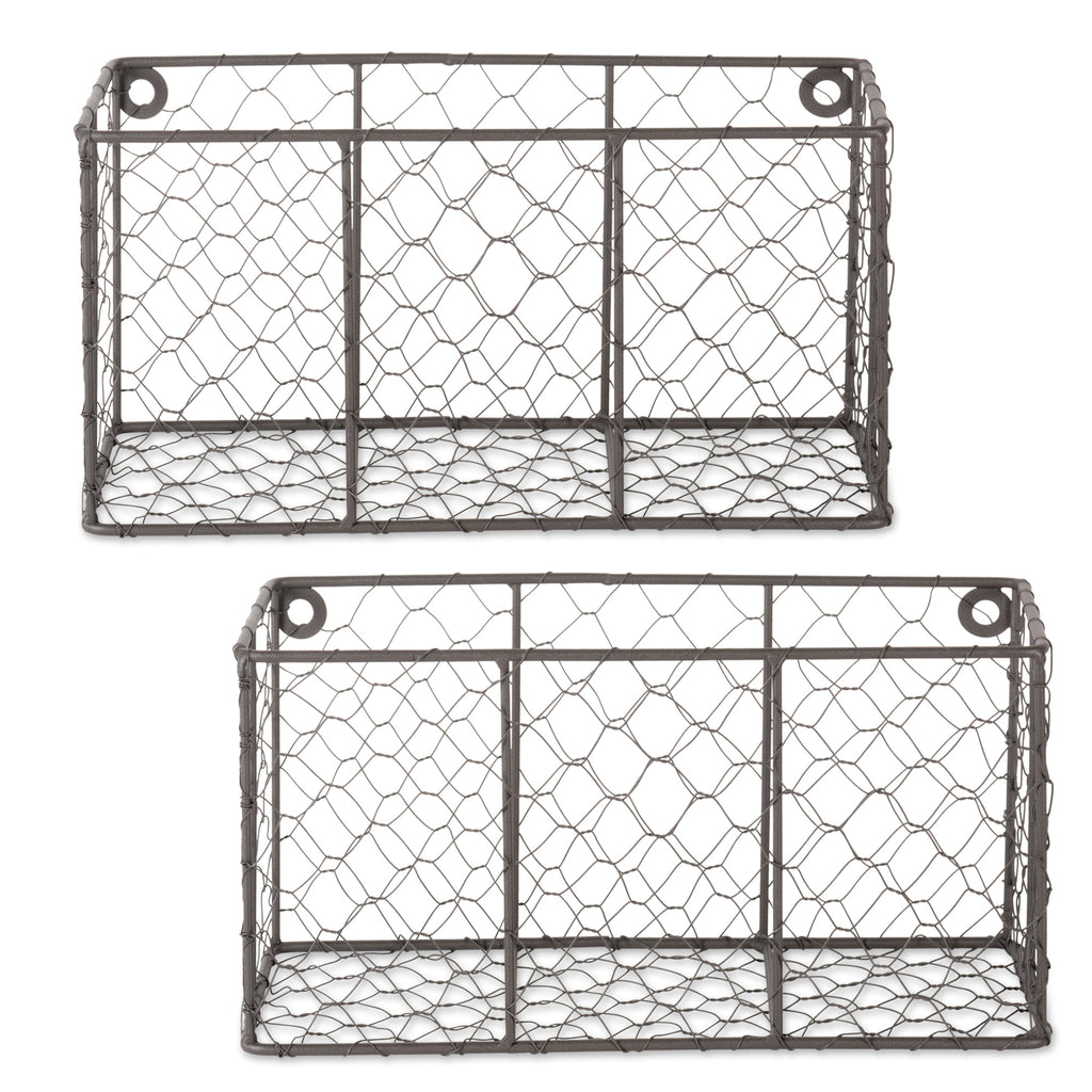 Small Rustic Bronze Wall Mount Chicken Wire Basket Set/2