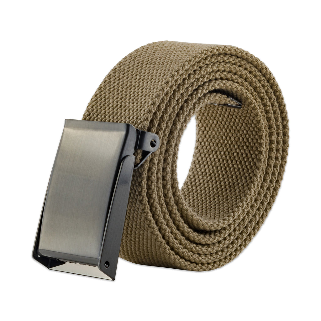 Mens Military Style Canvas Web Belt 56 Khaki