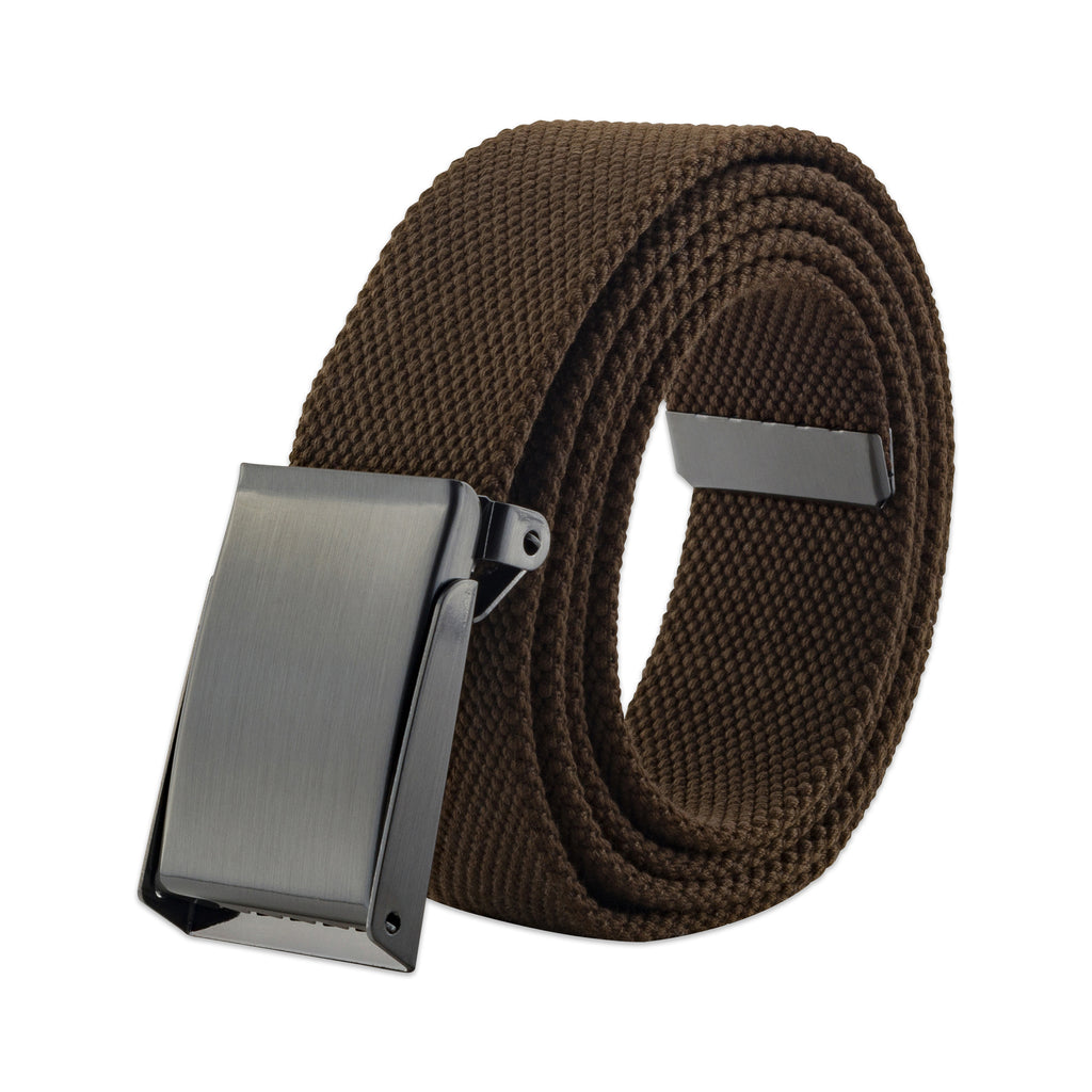 Mens Military Style Canvas Web Belt 56 Brown