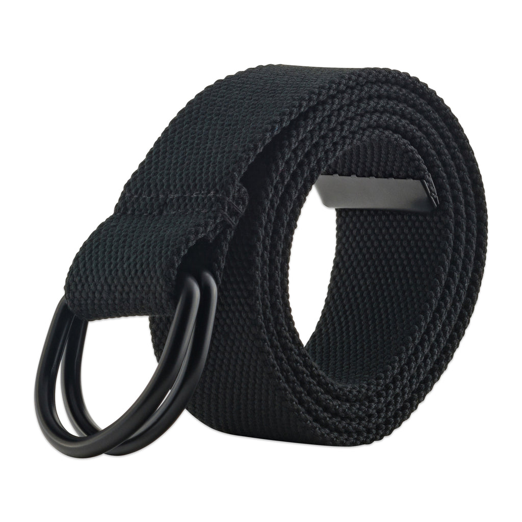 Mens And Womens D-Ring Canvas Belt Black Xs