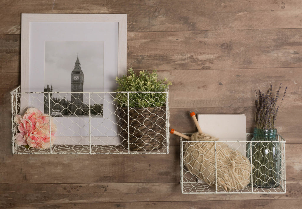 DII Wall Mount Chicken Wire Basket(Set of 2) Small Antique White