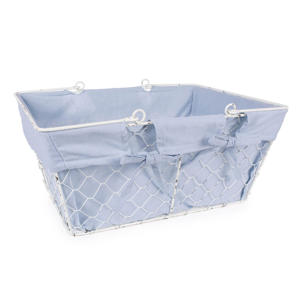 Antique White Chicken Wire Egg Basket Washed Denim