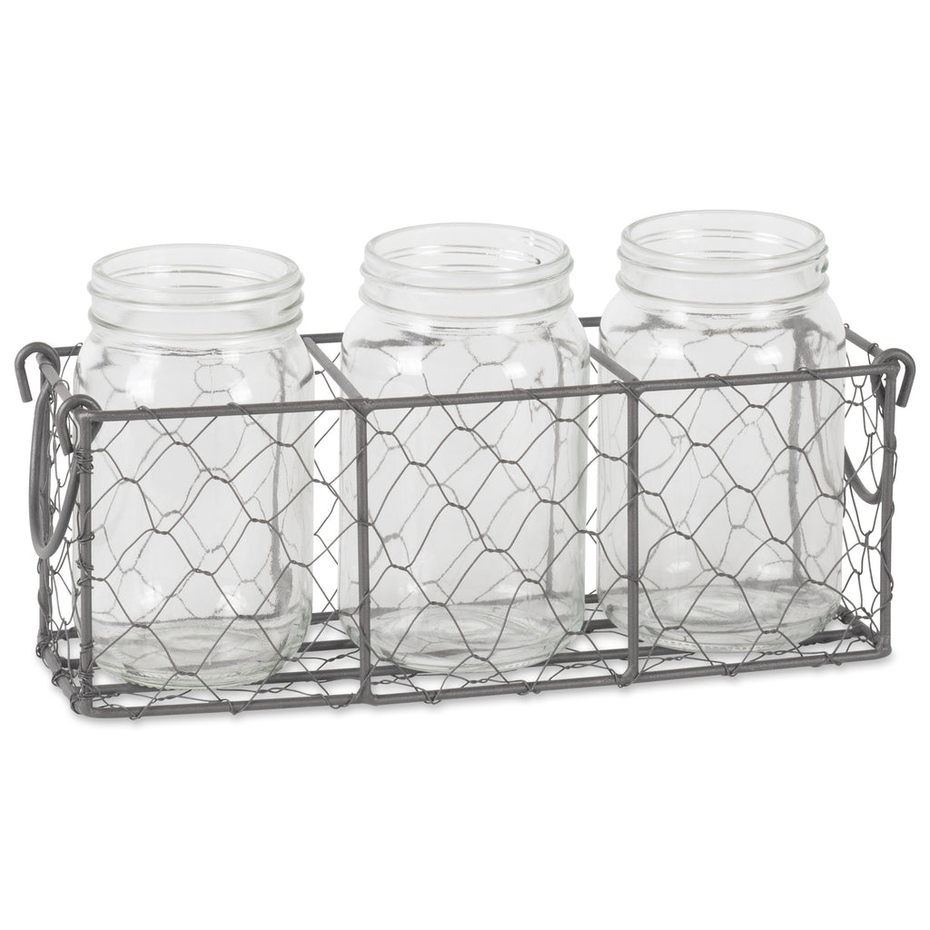 Vintage Grey Chickenwire Flatware Caddy With Clear Jars