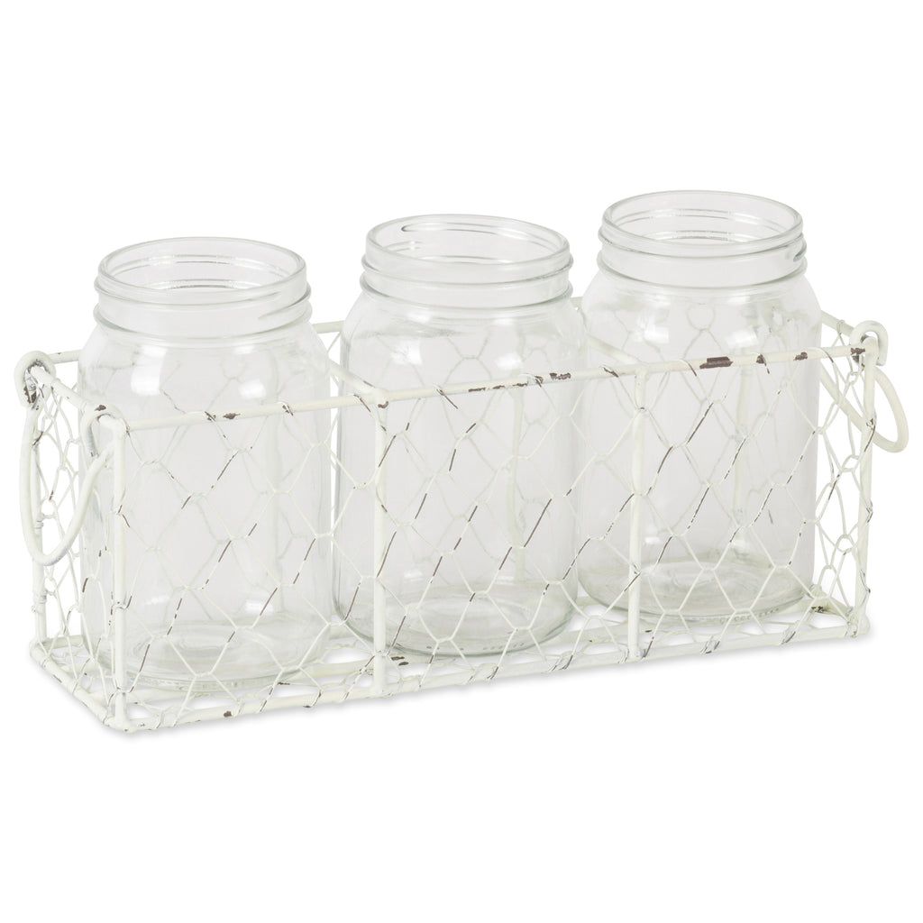 Antique White Flatware Caddy With Clear Jars