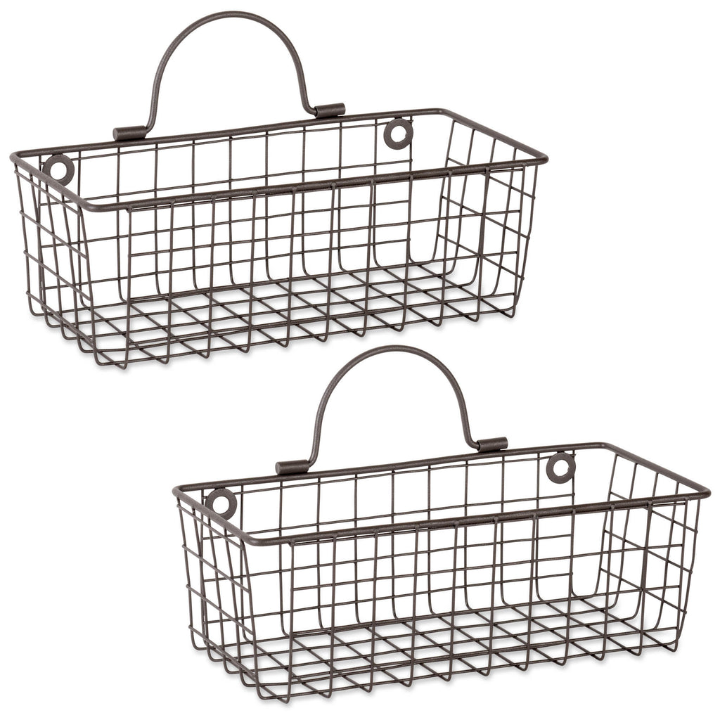 Small Rustic Bronze Wire Wall Basket Set/2