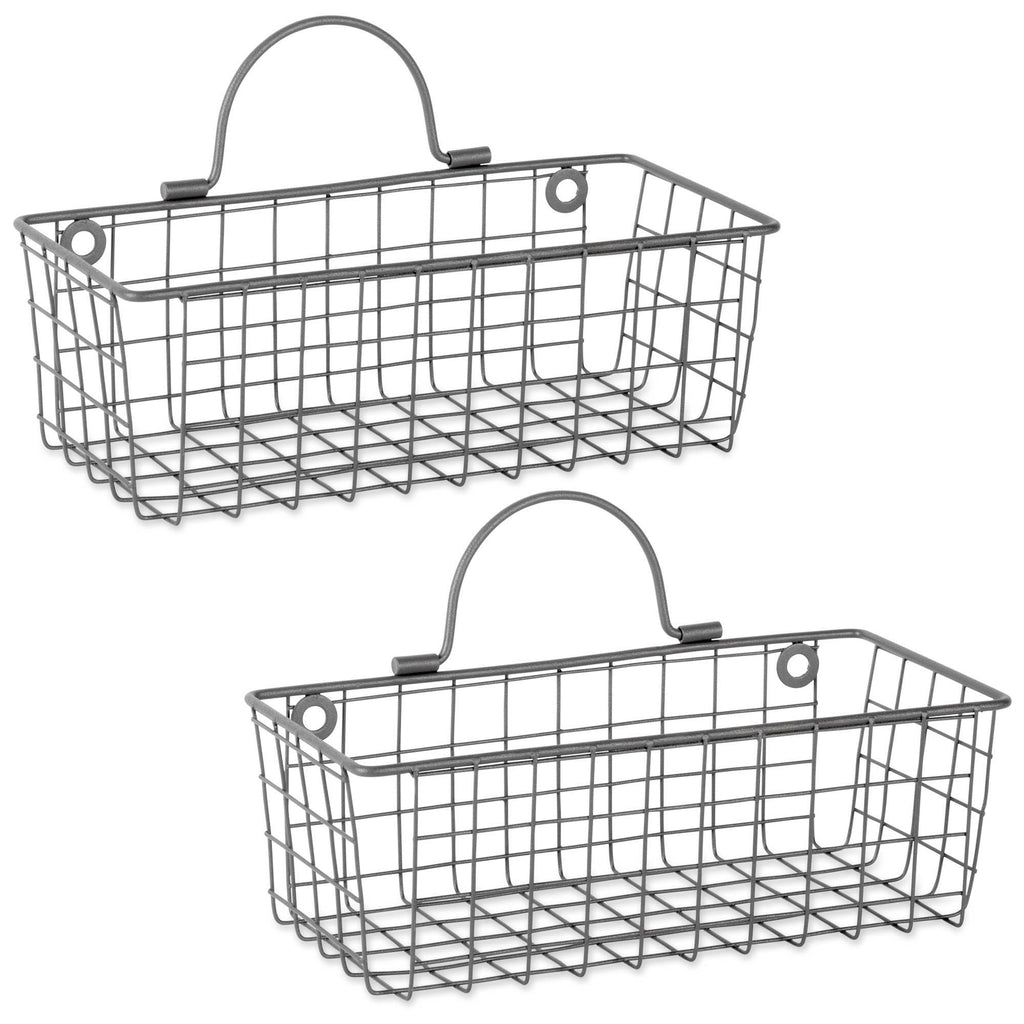 Small Grey Wire Wall Basket Set/2