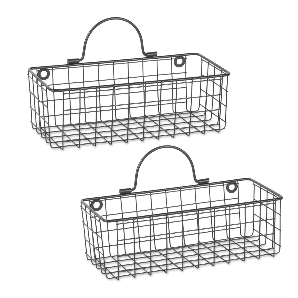Small Black Wire Wall Basket Set/2