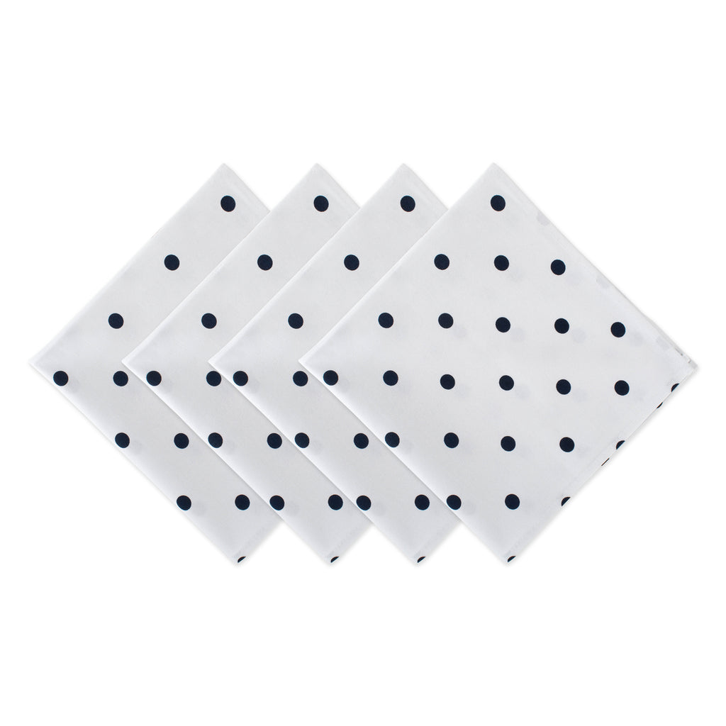 Polka Dot Napkin Set 4 White/Navy