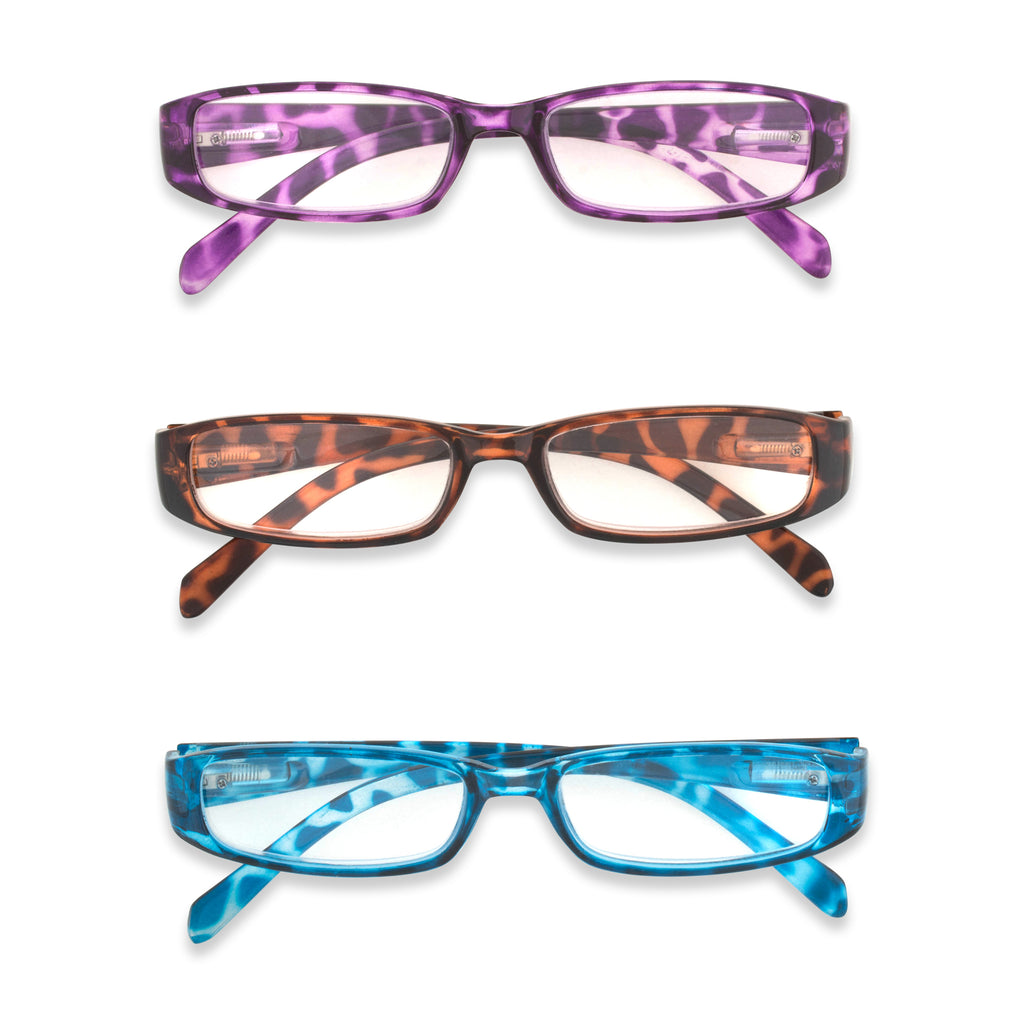 3 Piece Ladies Printed Leopard Reading Glasses Set 1.25
