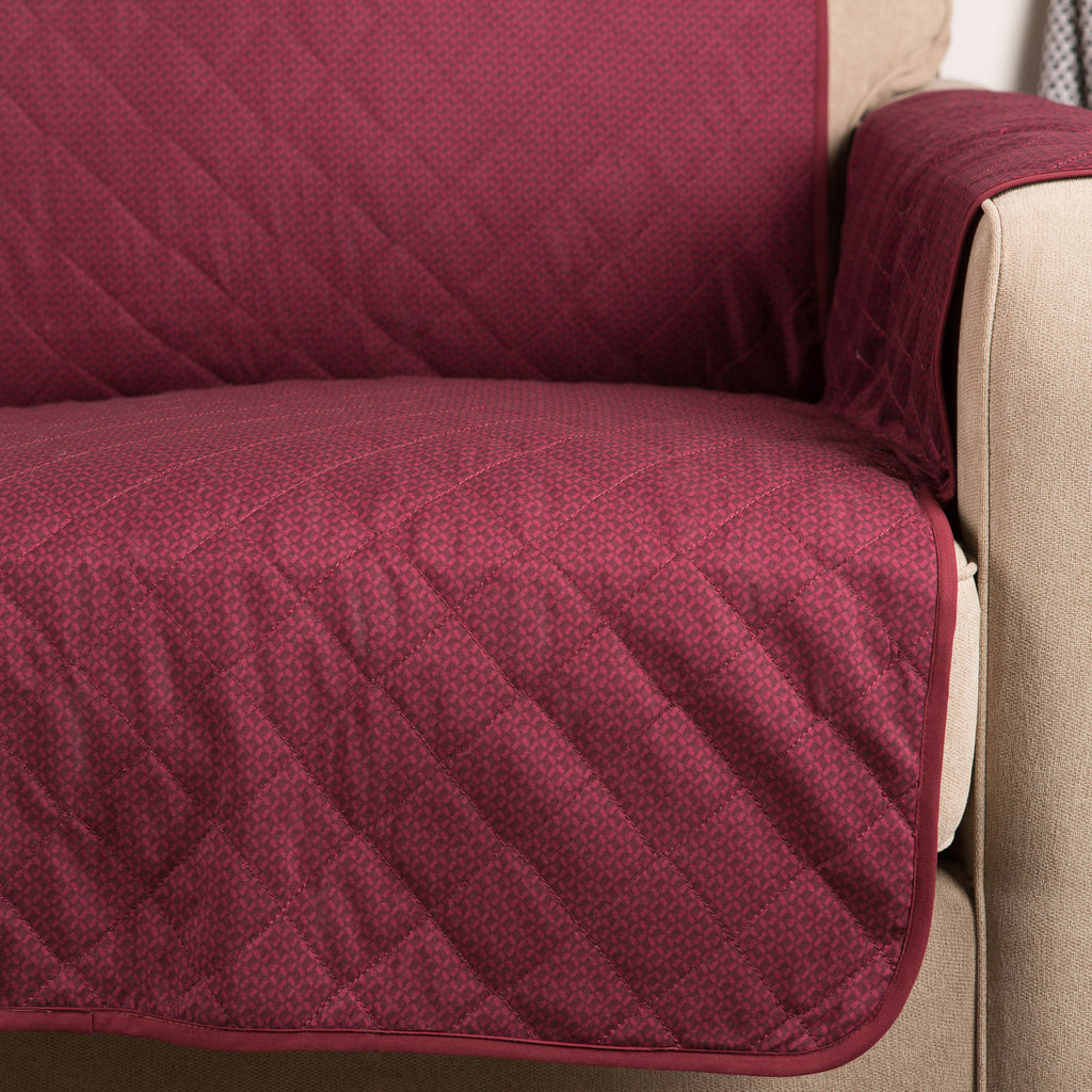 DII Reversible Sofa Cover Cranberry Multi Print