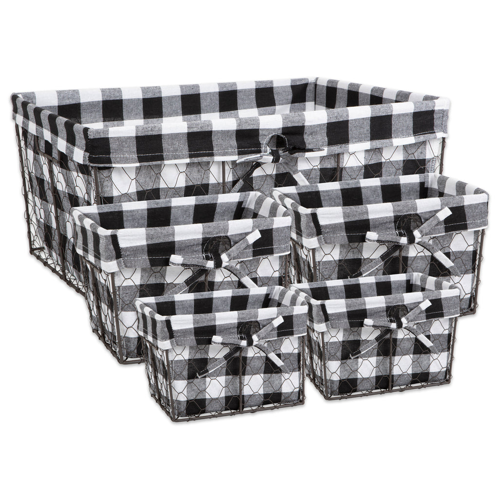 Asst Vintage Grey Chicken Wire  Black White Check Liner Basket Set/5