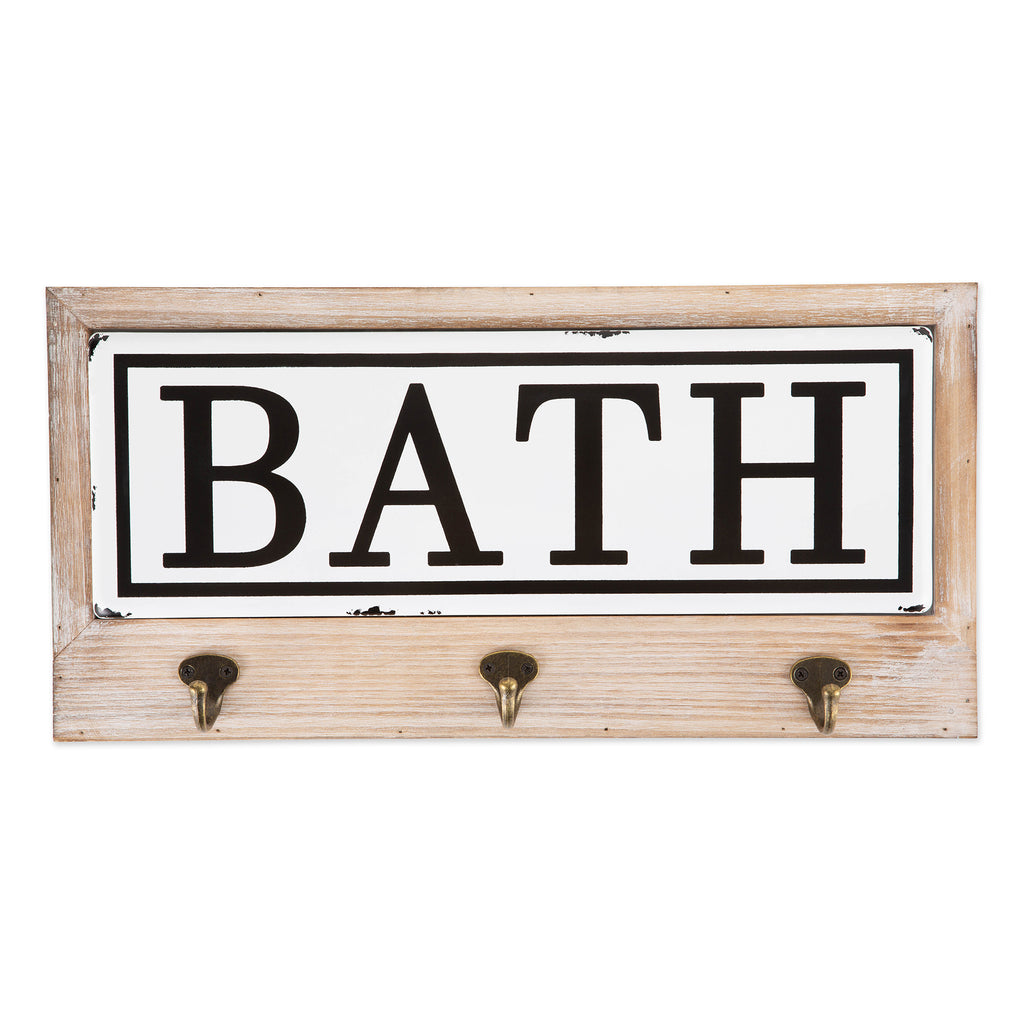 Vintage Enamelware Tile Bath Hook Sign
