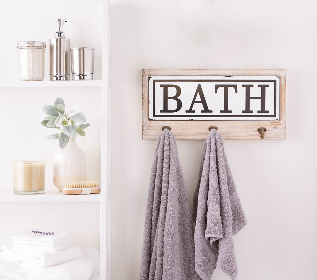 DII Vintage Enamelware Tile Bath Hook Sign