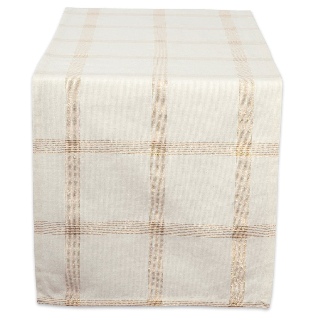 Gold Lurex Plaid Table Runner 14x72