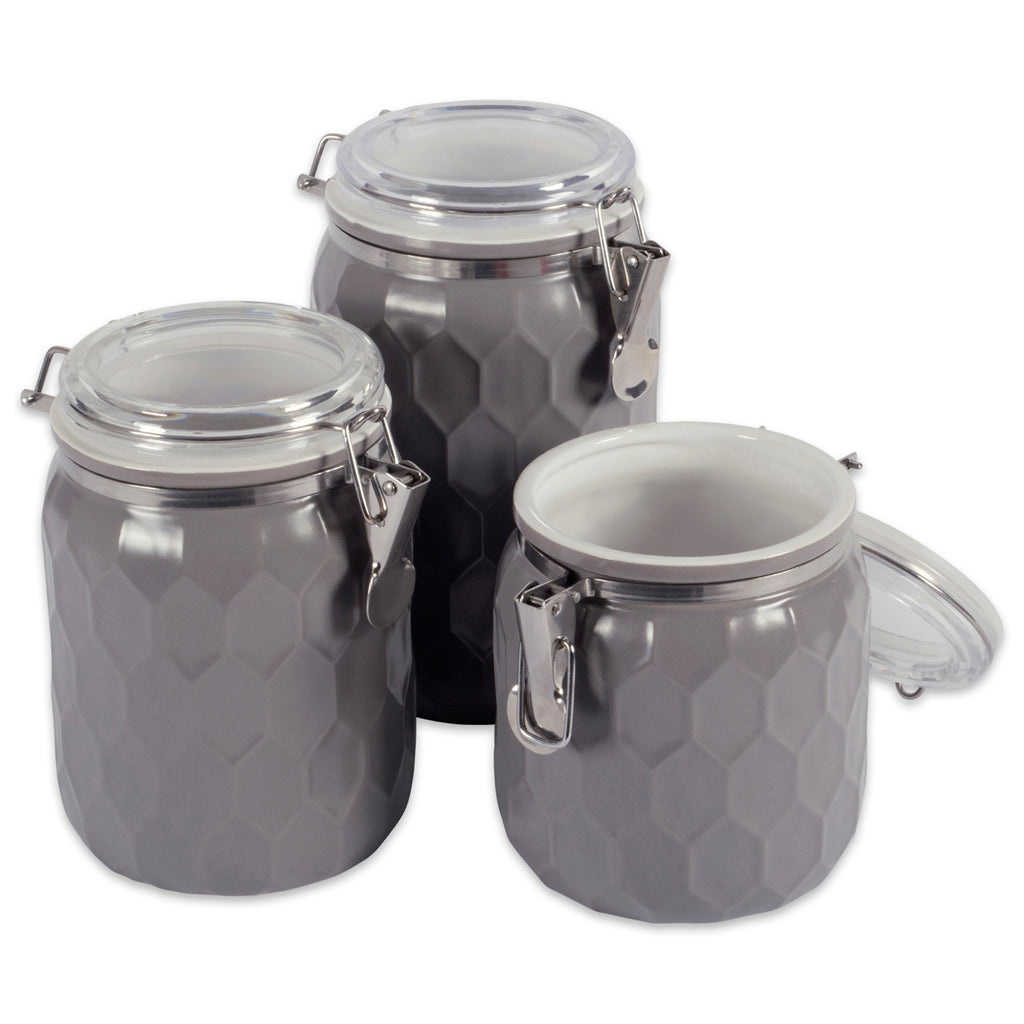 Gray Honeycomb Canister With Clamp Lock Lid Set/3