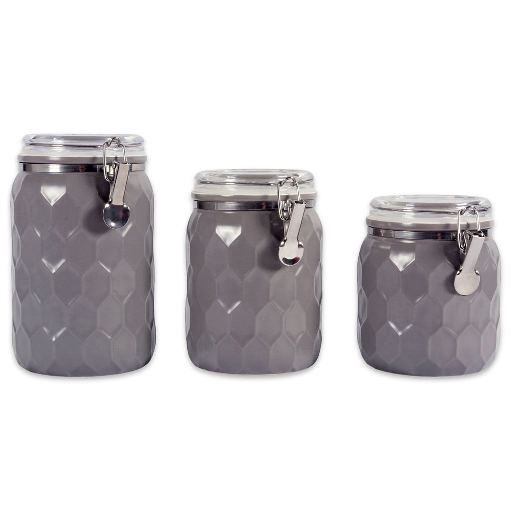DII Gray Honeycomb Canister With Clamp Lock Lid (Set of 3)