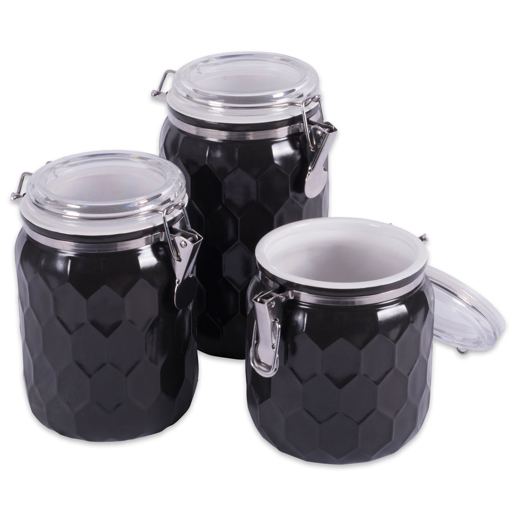 Black Honeycomb Canister With Clamp Lock Lid Set/3