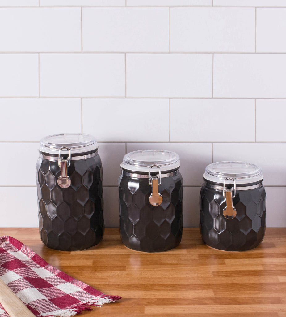 DII Black Honeycomb Canister With Clamp Lock Lid (Set of 3)