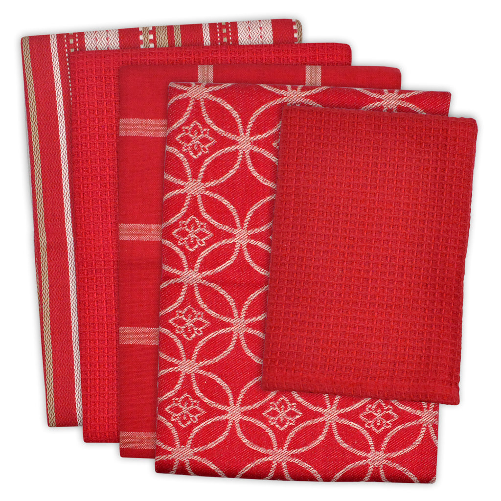 Asst Red Dishtowel & Dishcloth Set/5