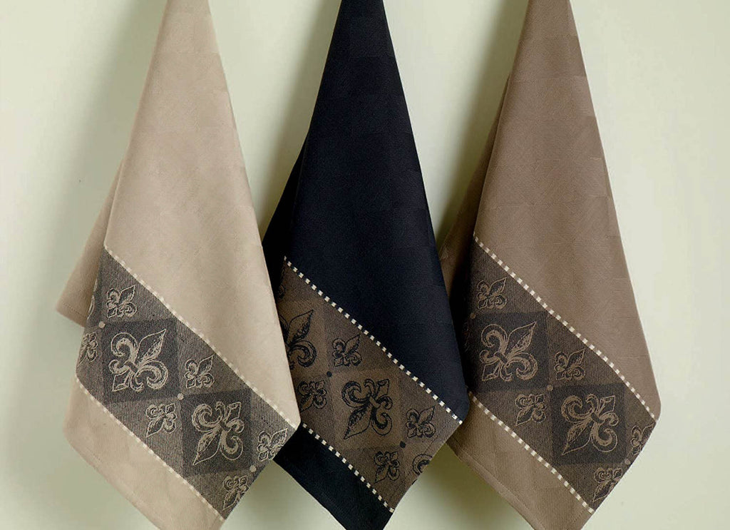 DII Assorted Fleur De Lis Jacquard Dishtowels (Set of 3)