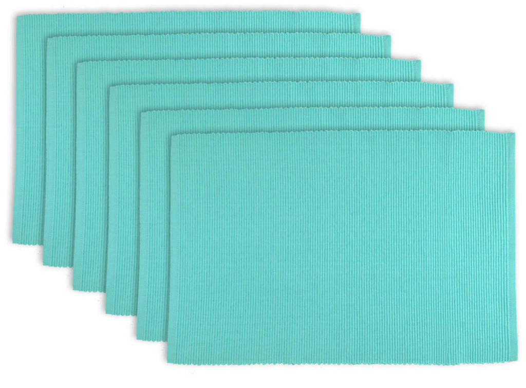 Aqua Ribbed Placemat Set/6