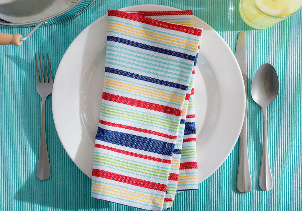 DII Basic Primary Saturated Stripe Napkin (Set of 6)