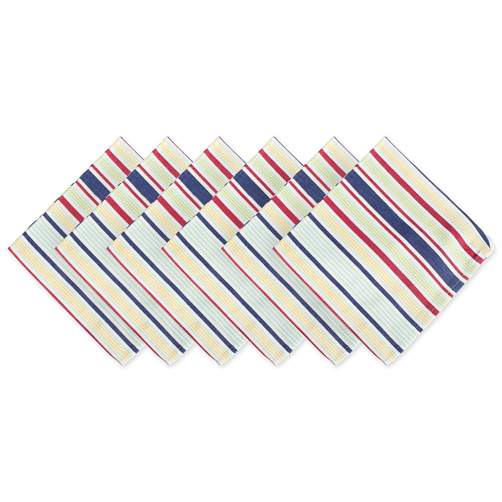 Basic Primary Saturated Stripe Napkin Set/6
