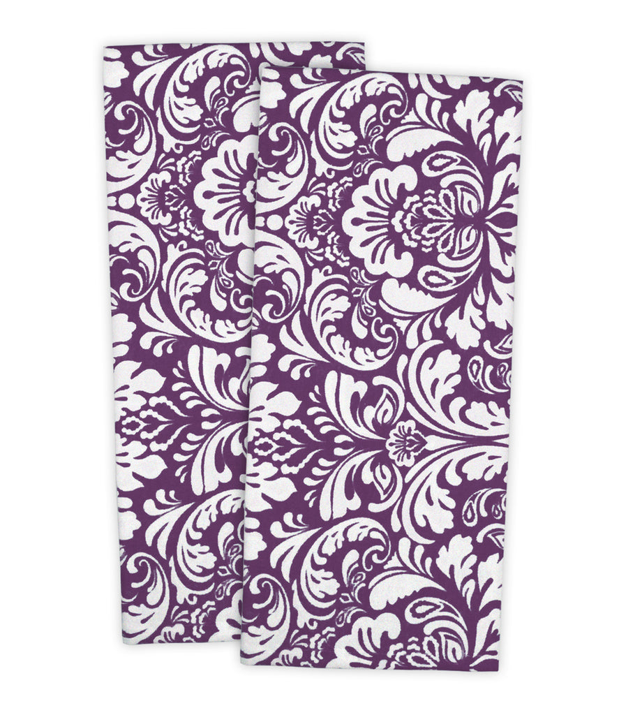 Eggplant Damask Dishtowel Set/2