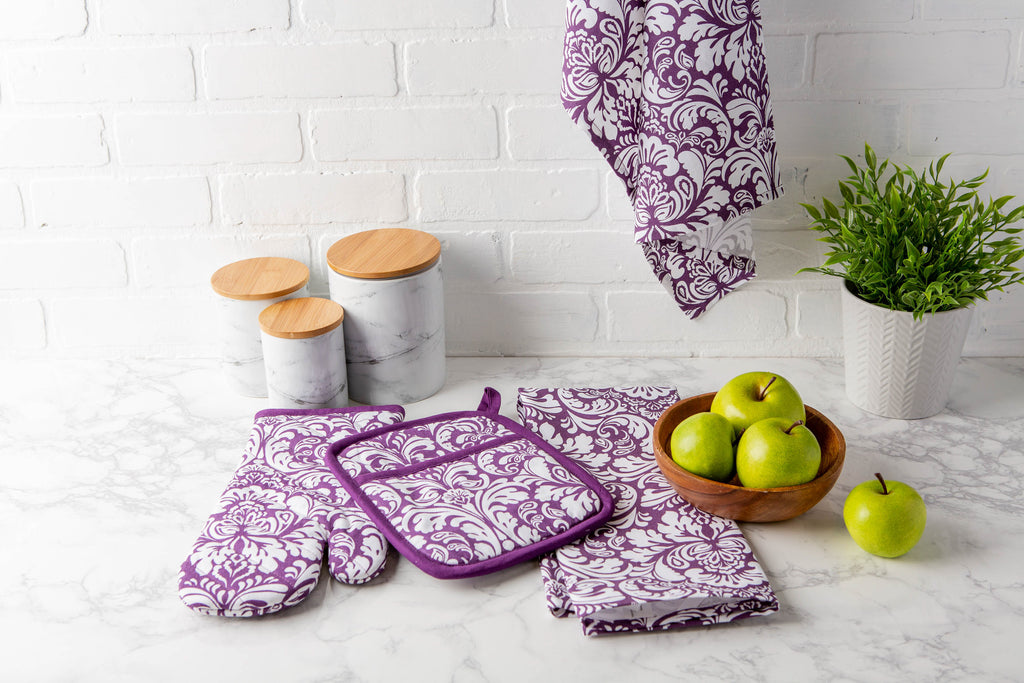 DII Eggplant Damask Dishtowel (Set of 2)
