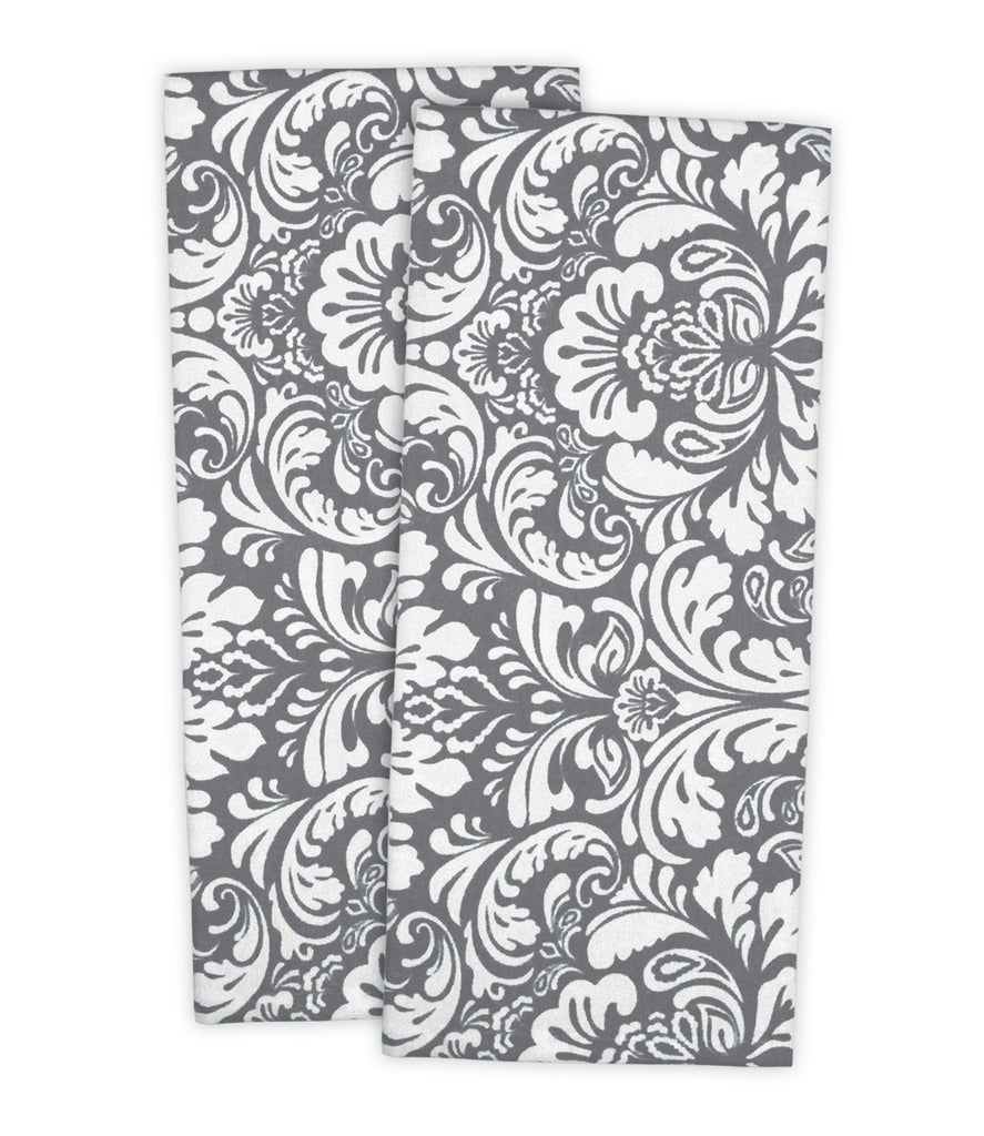 Gray Damask Dishtowel Set/2