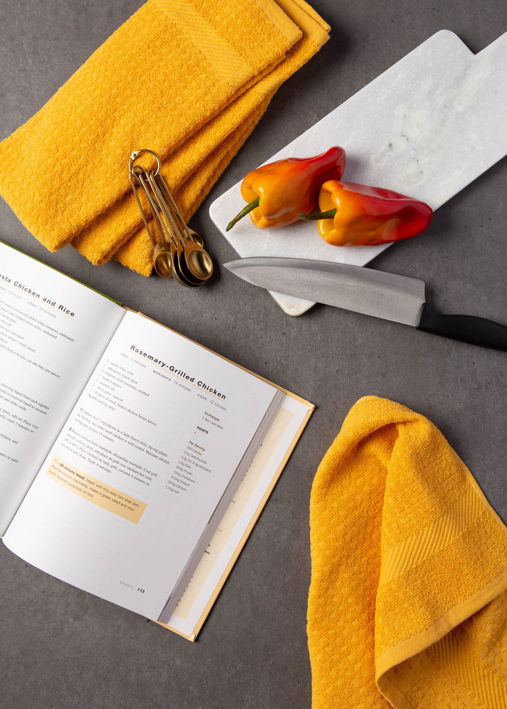 DII Solid Mustard Waffle Terry Dishtowel (Set of 4)