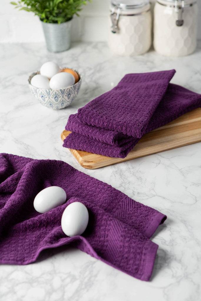 DII Solid Eggplant Waffle Terry Dishtowel (Set of 4)