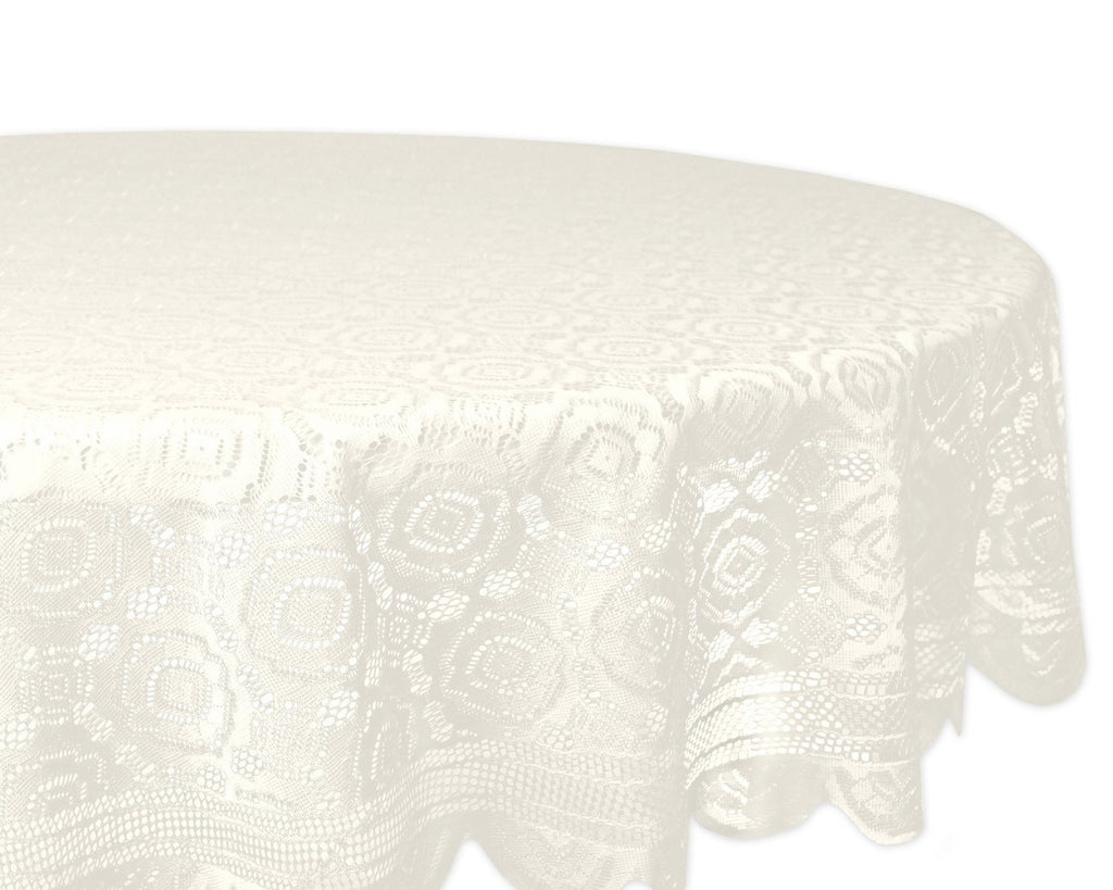 Cream Vintage Polyester Lace Tablecloth 63 Round