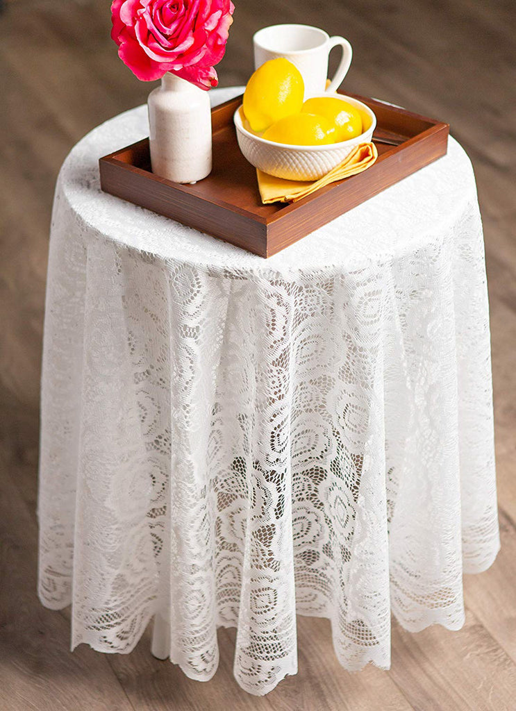 DII Cream Vintage Polyester Lace Tablecloth 63 Round