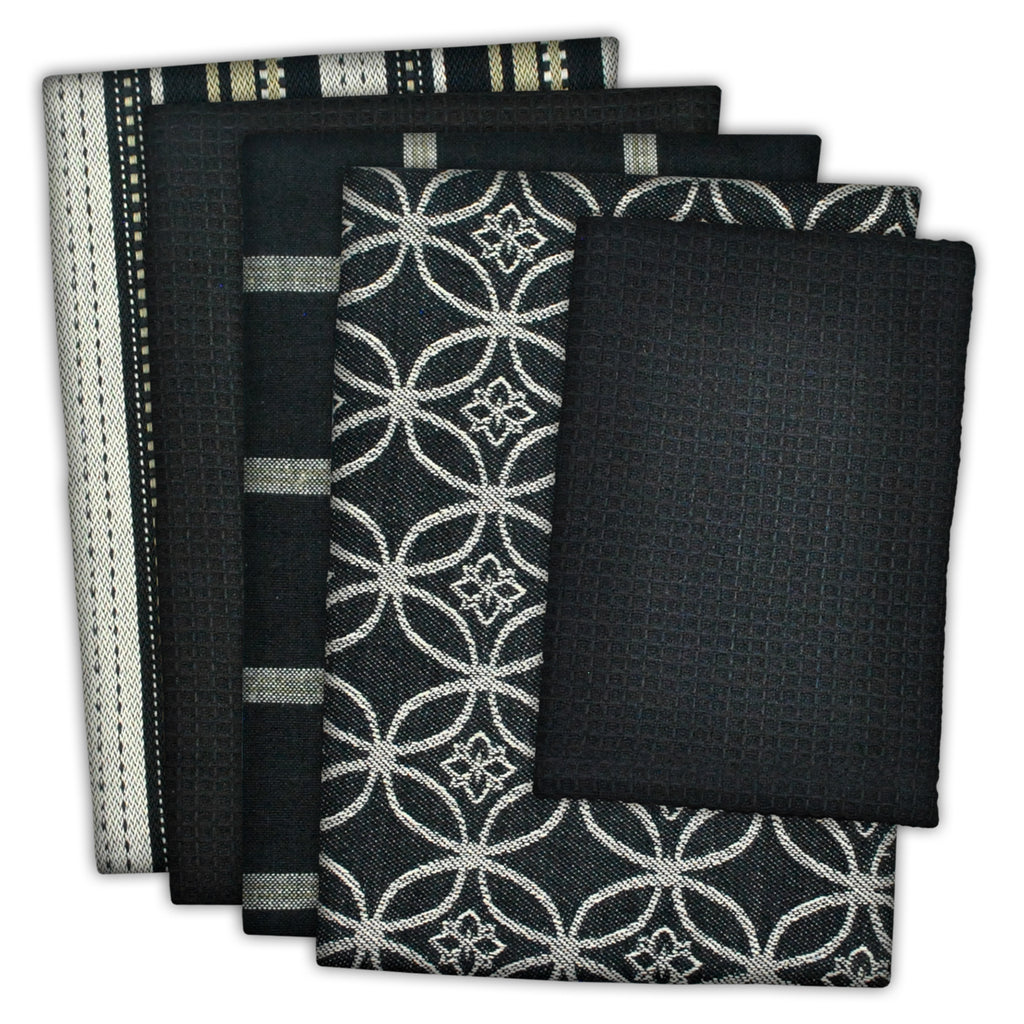 Asst Black Dishtowel & Dishcloth Set/5