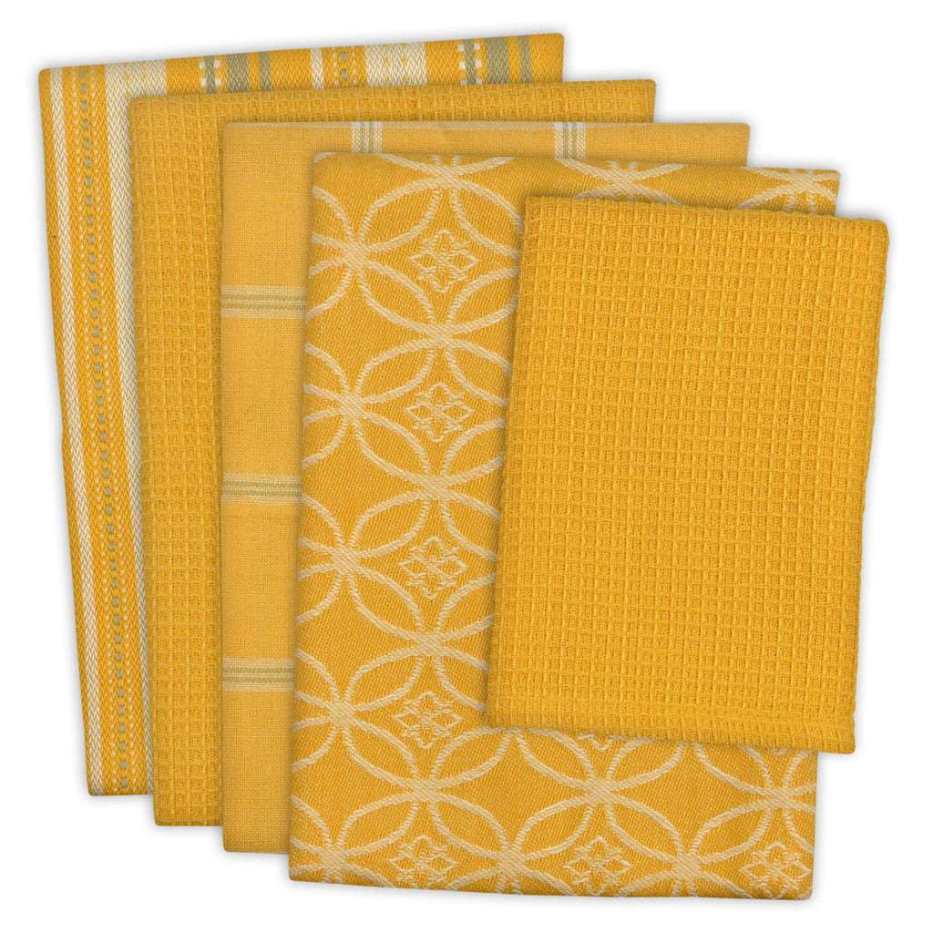Asst Mustard Dishtowel & Dishcloth Set/5