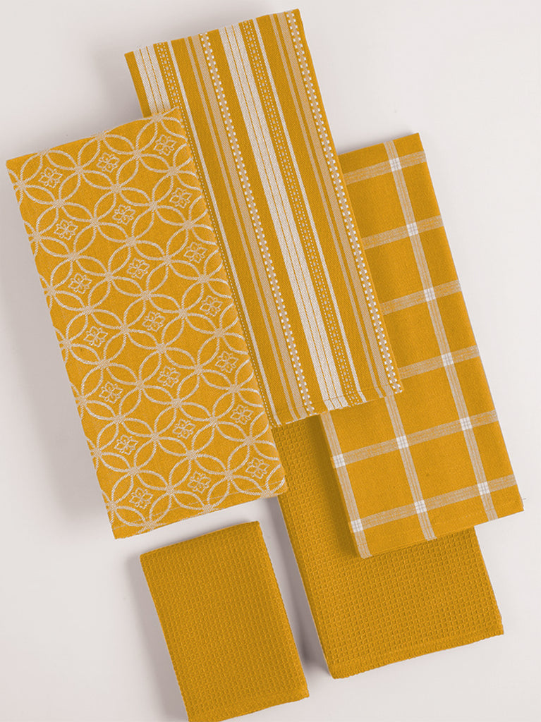 DII Assorted Mustard Dishtowel & Dishcloth (Set of 5)