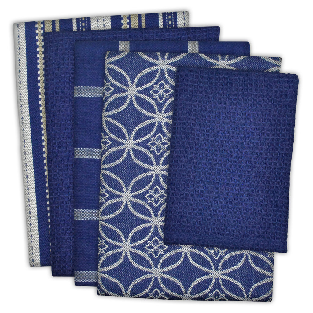 Asst Nautical Blue Dishtowel & Dishcloth Set/5