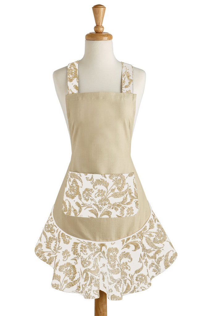 DII Taupe Acanthus Ruffle Apron