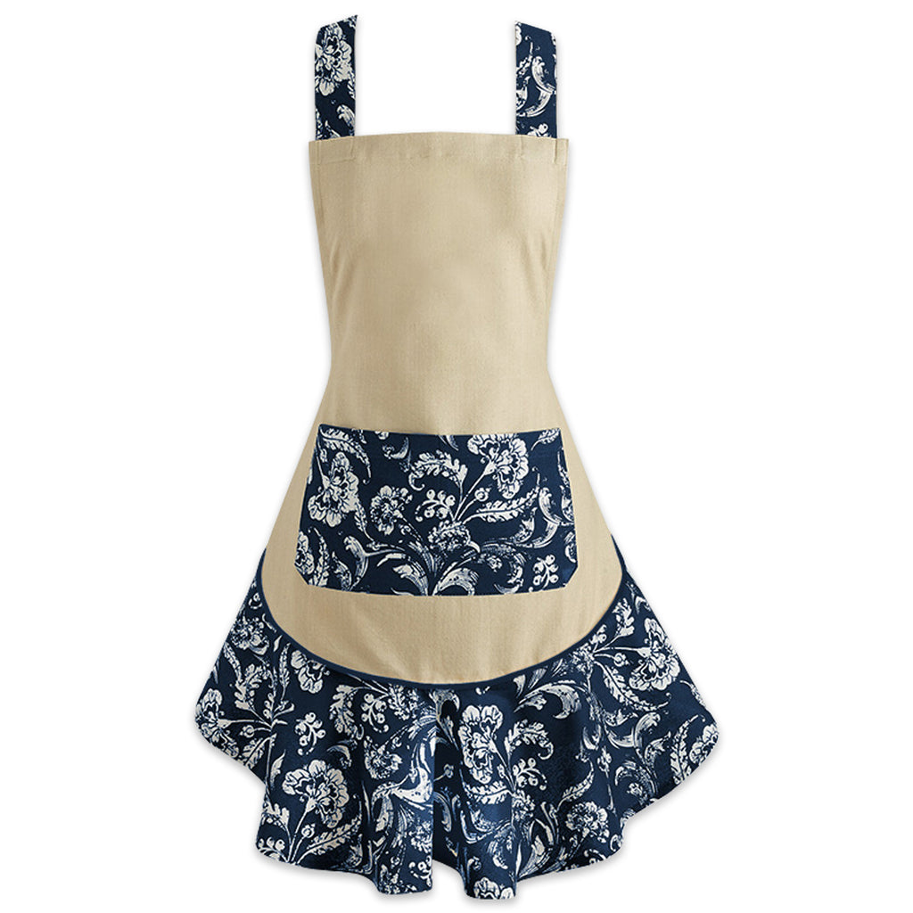 Nautical Blue Acanthus Ruffle Apron