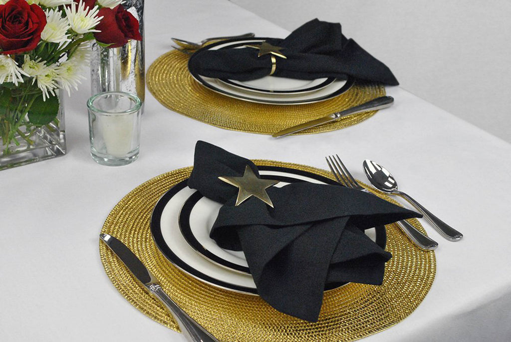 DII Metallic Gold Round Woven Polypropylene Placemat (Set of 6)