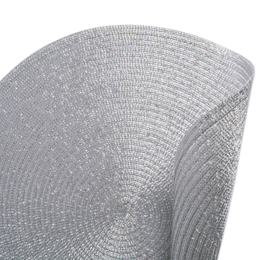 DII Metallic Silver Round Polypropylene Woven Placemat (Set of 6)