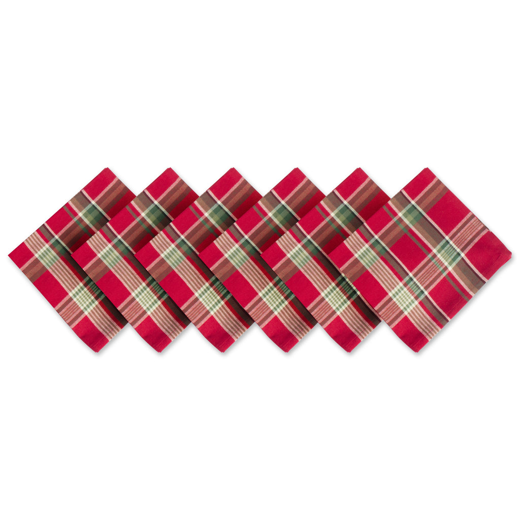 Tango Red Plaid Napkin Set/6