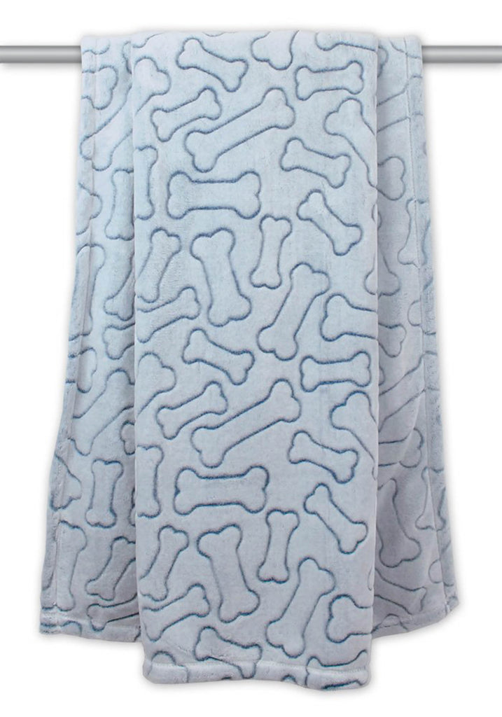 Blue Embossed Bone Print Pet Blanket