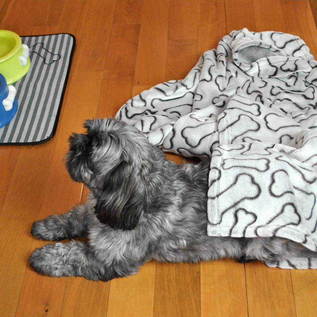 DII Taupe Embossed Bone Print Pet Blanket