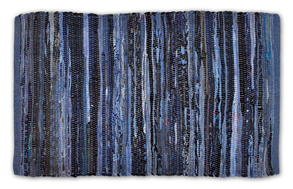 Multi Nautical Blue Rag Rug 4x6 Ft